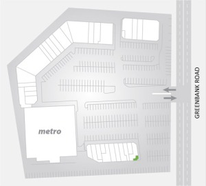 Overview graphic for the shopping centre, including highlighted entrance to offices above 250B Greenbank